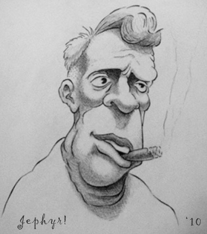 """Cigar Joe"" - Pencil Sketch- Copyright 2010, Jephyr (Jeff Curtis), All Rights Reserved"