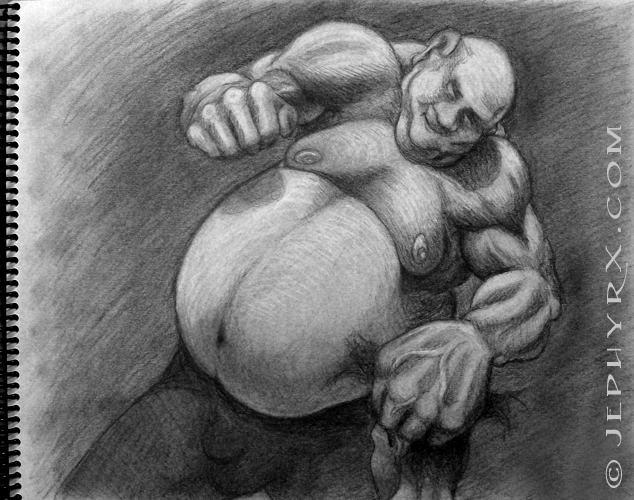 """Fist Sandwich"" - Pencil Sketch- Copyright 2010, Jephyr (Jeff Curtis), All Rights Reserved"