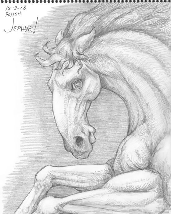 """Arnold Horse-Neigh-Grr"" - Pencil Drawing - Copyright 2018, Jephyr (Jeff Curtis), All Rights Reserved"
