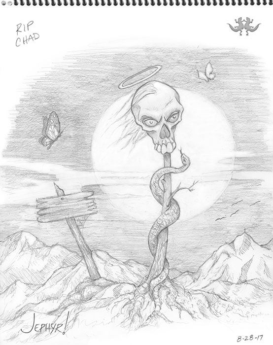 """RIP Chad"" - Pencil Drawing - Copyright 2017, Jephyr (Jeff Curtis), All Rights Reserved"