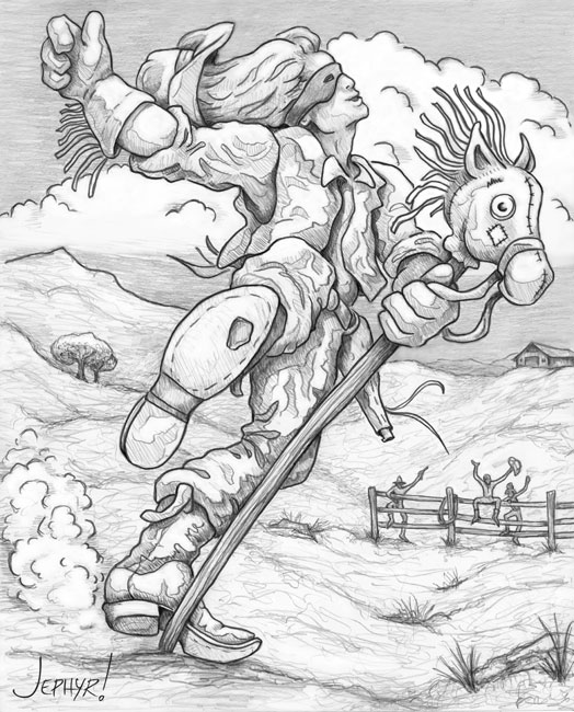 """Professional Stick Pony Championship Rodeo; - Pencil Drawing - Copyright 2019, Jephyr (Jeff Curtis), All Rights Reserved"