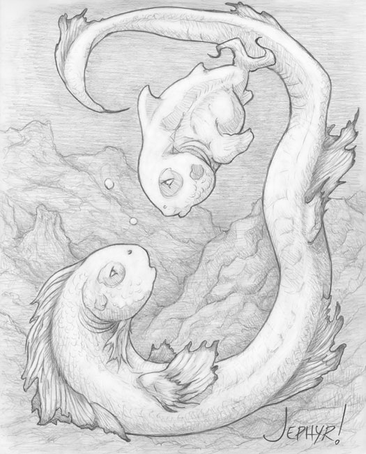 """Be Careful Li'l Fishies; - Pencil Drawing - Copyright 2019, Jephyr (Jeff Curtis), All Rights Reserved"