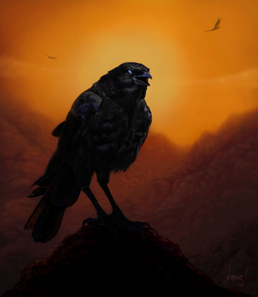 "Digital Painting ""Consider The Ravens"" - Copyright, 2012, Jephyr"