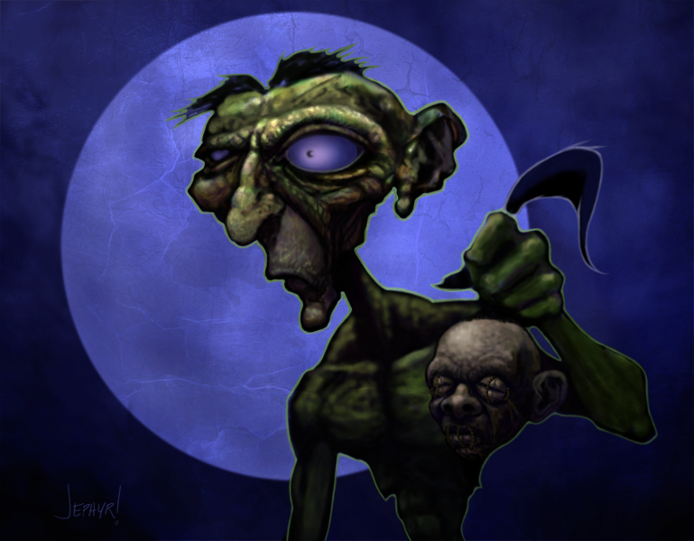 "Image: Digital Painting - ""Zombie HeadHunter"" Copyright 2013 - Jephyr! - All Rights Reserved"