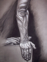 Please click on this image to see a larger version of this Charcoal Drawing on grey paper:  Surface Anatomy Study created for Mesa Community College, Art Anatomy.