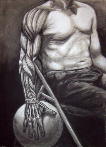 Image: Copyright 2008, Jeff Curtis, All Rights Reserved.  Fall 2008 Art Anatomy - Arm and Hand Muscle Study.  Charcoal and Conte Drawing.