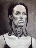 Please click on this image to see a larger version of this Charcoal Drawing:  Neck Muscle Study and Portrait created by Artist Jeff Curtis for Mesa Community College, Art Anatomy.