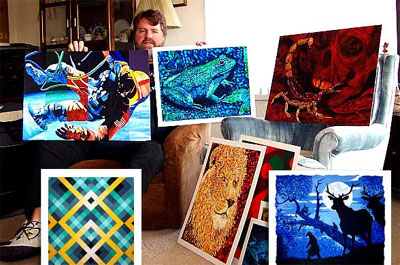 Artist Jeff Curtis surrounded by a number of his paintings.
