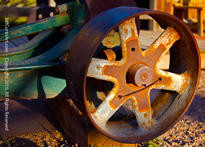 Photo:  Copyright 2010, Jeff Curtis, All Rights Reserved. Canon EOS-5D Mark II Photo. Photography I, Light & Shadow Assignment - Pulley Wheel.