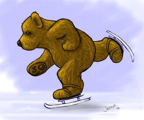 Image:  Copyright 2008, Jephyr (Jeff Curtis), All Rights Reserved. A Sketchbook Pro and Wacom Tablet Painting:  Skating Bear.